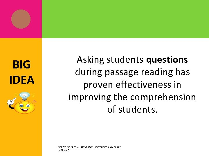 BIG IDEA Asking students questions during passage reading has proven effectiveness in improving the