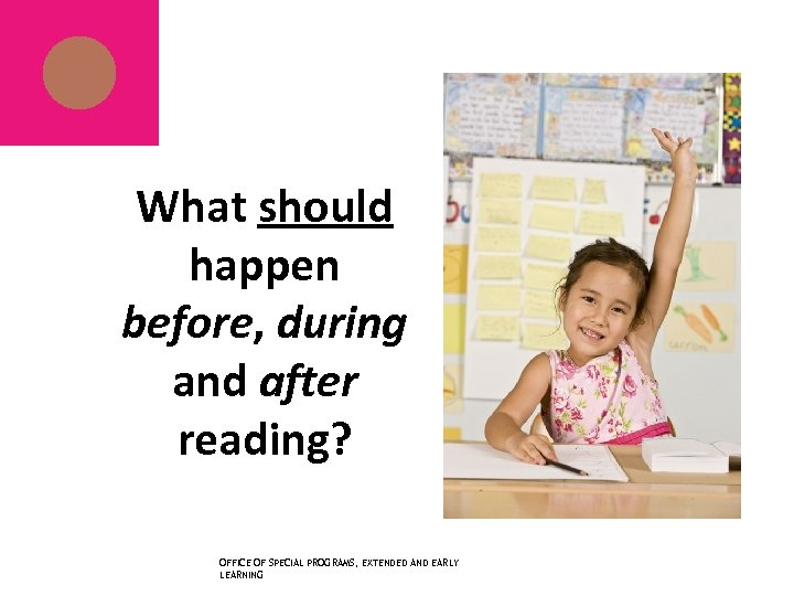 What should happen before, during and after reading? OFFICE OF SPECIAL PROGRAMS, EXTENDED AND