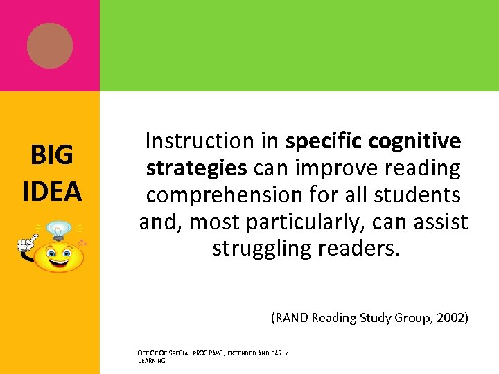 BIG IDEA Instruction in specific cognitive strategies can improve reading comprehension for all students