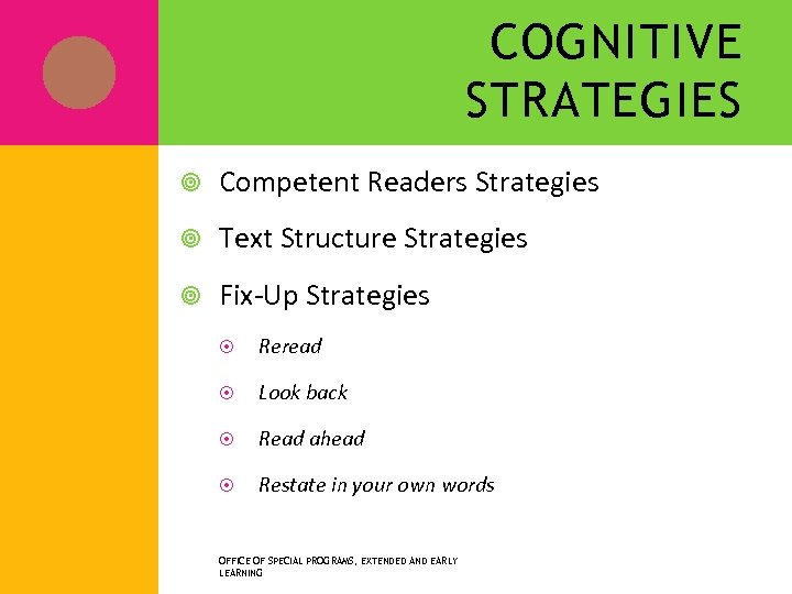 COGNITIVE STRATEGIES Competent Readers Strategies Text Structure Strategies Fix-Up Strategies Reread Look back Read