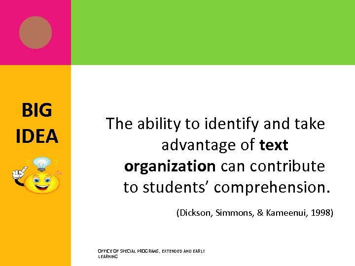 BIG IDEA The ability to identify and take advantage of text organization can contribute