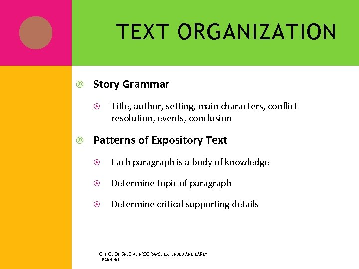 TEXT ORGANIZATION Story Grammar Title, author, setting, main characters, conflict resolution, events, conclusion Patterns