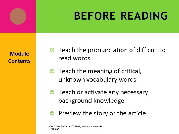 BEFORE READING Module Contents Teach the pronunciation of difficult to read words Teach the