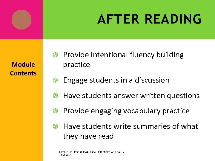 AFTER READING Module Contents Provide intentional fluency building practice Engage students in a discussion