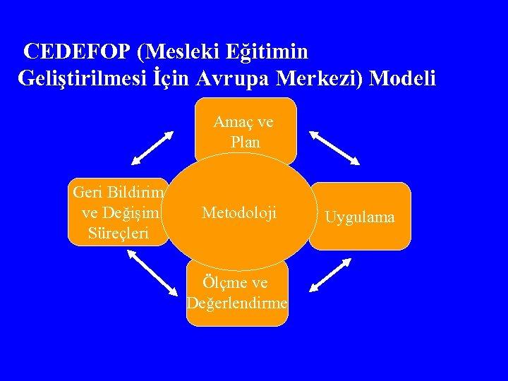 CEDEFOP (Mesleki Eğitimin Geliştirilmesi İçin Avrupa Merkezi) Modeli Amaç ve Plan Geri Bildirim ve