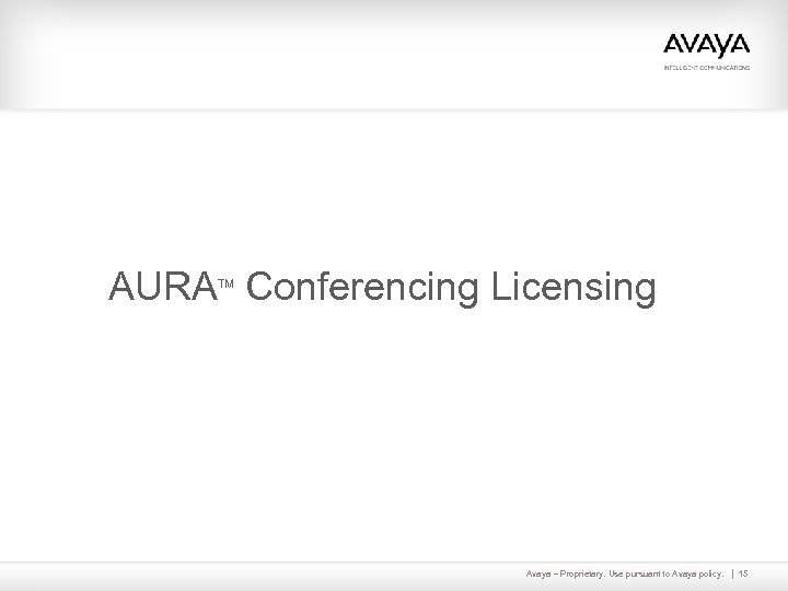 AURA Conferencing Licensing TM Avaya – Proprietary. Use pursuant to Avaya policy. 15