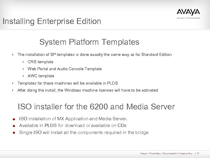 Installing Enterprise Edition System Platform Templates 4 The installation of SP templates is done