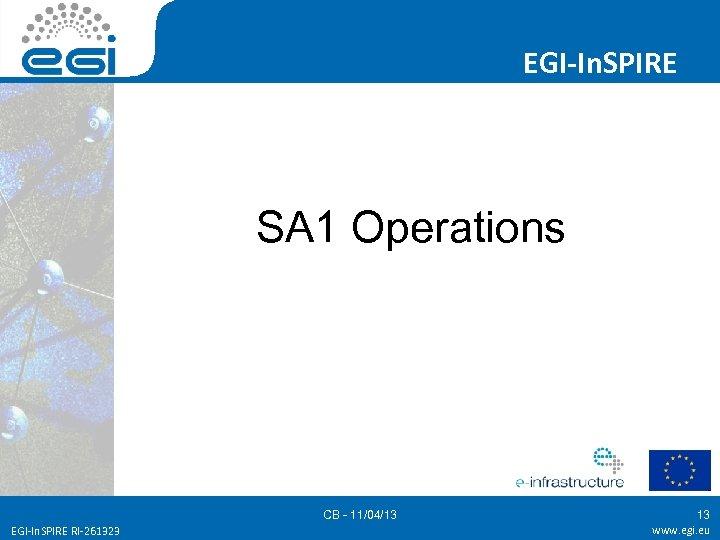 EGI-In. SPIRE SA 1 Operations CB - 11/04/13 EGI-In. SPIRE RI-261323 13 www. egi.