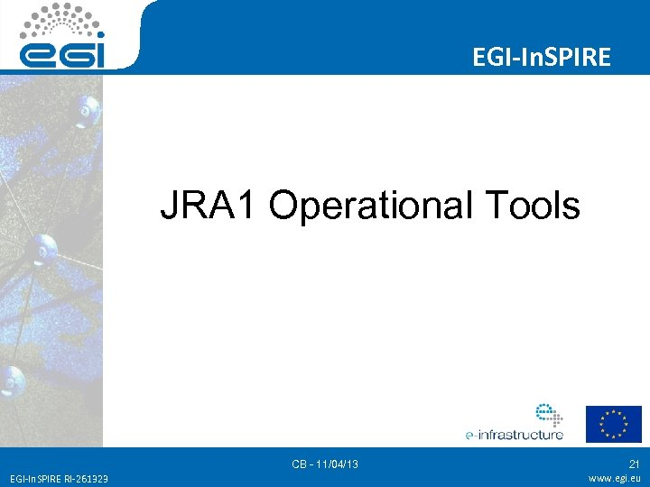 EGI-In. SPIRE JRA 1 Operational Tools CB - 11/04/13 EGI-In. SPIRE RI-261323 21 www.
