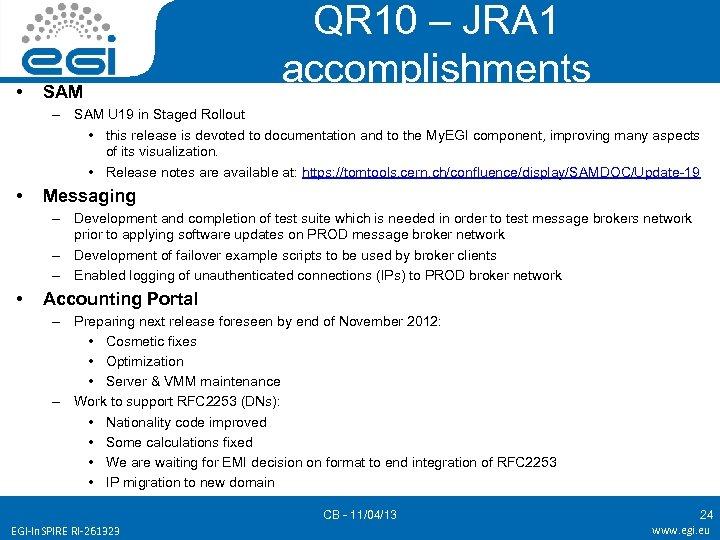 • SAM QR 10 – JRA 1 accomplishments – SAM U 19 in