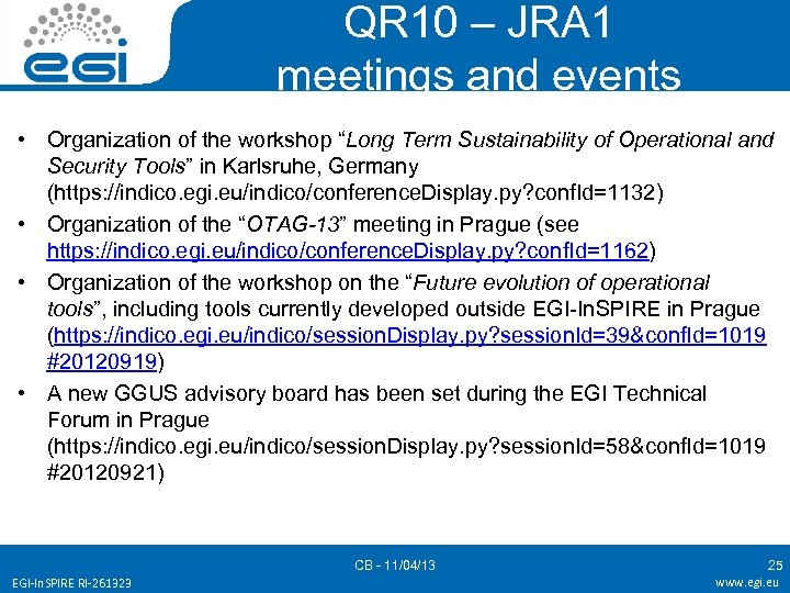 "QR 10 – JRA 1 meetings and events • Organization of the workshop ""Long"