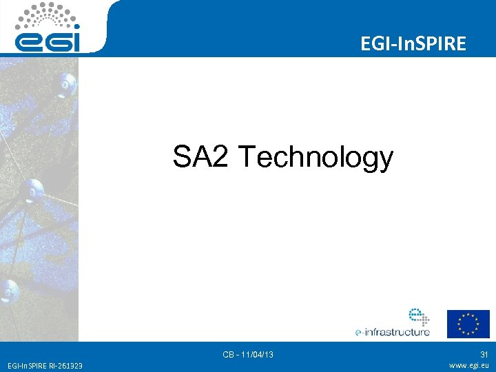 EGI-In. SPIRE SA 2 Technology CB - 11/04/13 EGI-In. SPIRE RI-261323 31 www. egi.