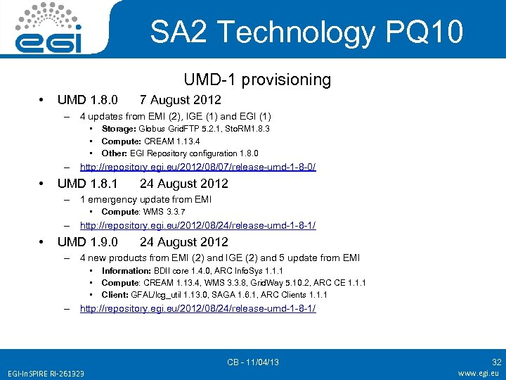 SA 2 Technology PQ 10 UMD-1 provisioning • UMD 1. 8. 0 7 August