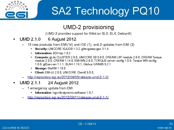 SA 2 Technology PQ 10 UMD-2 provisioning (UMD-2 provides support for 64 bit on