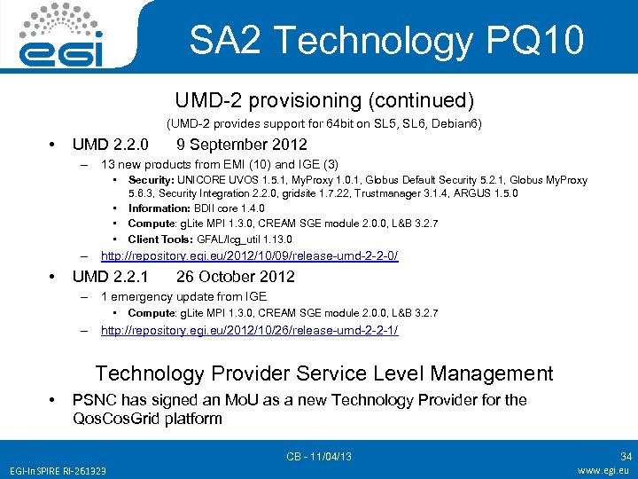 SA 2 Technology PQ 10 UMD-2 provisioning (continued) (UMD-2 provides support for 64 bit