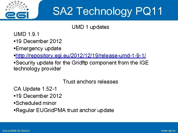 SA 2 Technology PQ 11 UMD 1 updates UMD 1. 9. 1 • 19