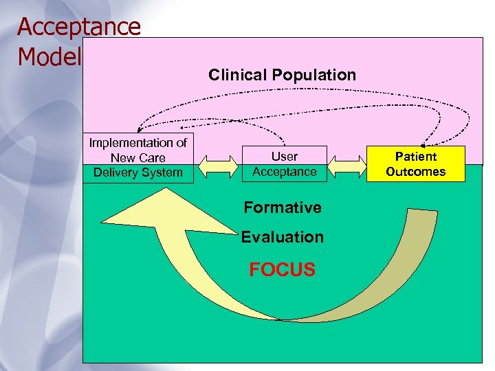 Acceptance Model Implementation of New Care Delivery System Clinical Population User Acceptance Formative Evaluation