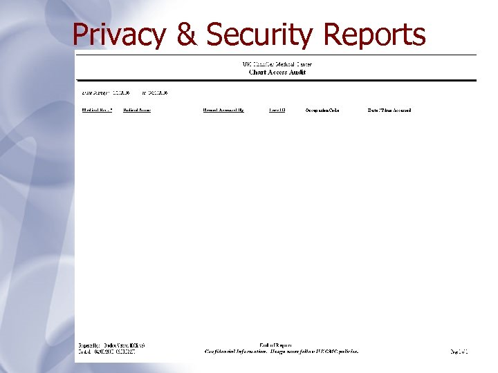 Privacy & Security Reports