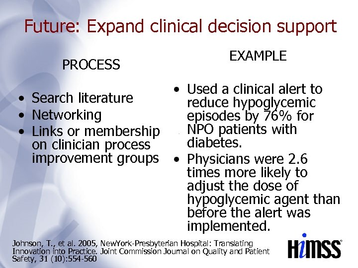 Future: Expand clinical decision support PROCESS EXAMPLE • Used a clinical alert to •
