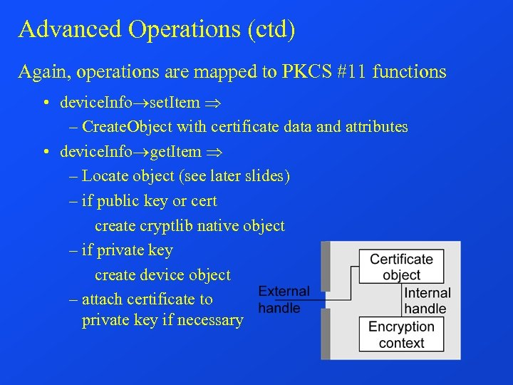Advanced Operations (ctd) Again, operations are mapped to PKCS #11 functions • device. Info