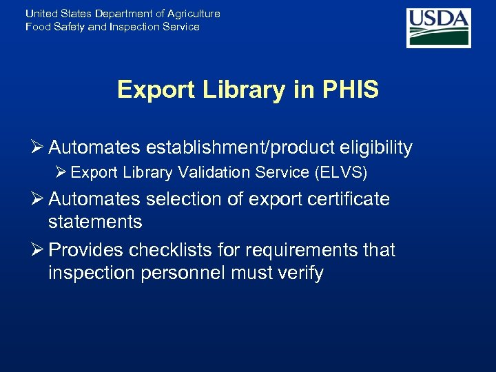 United States Department of Agriculture Food Safety and Inspection Service Export Library in PHIS
