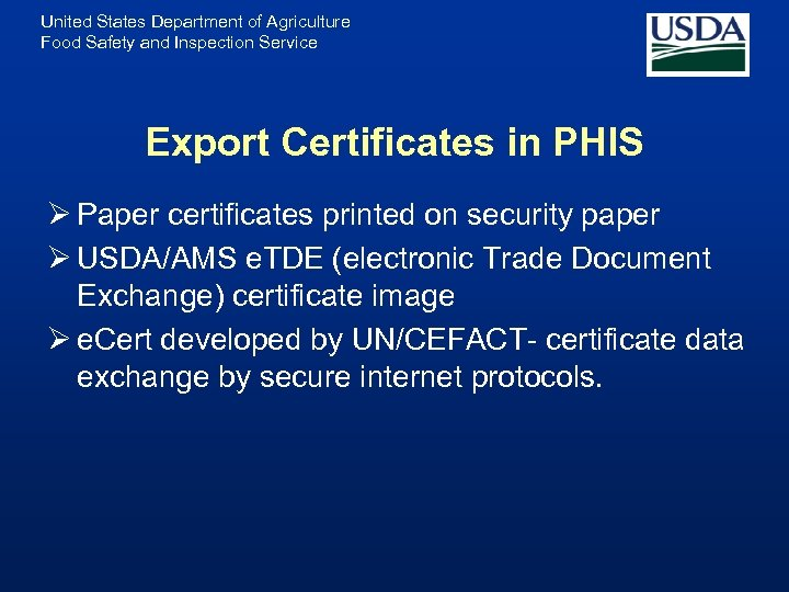 United States Department of Agriculture Food Safety and Inspection Service Export Certificates in PHIS