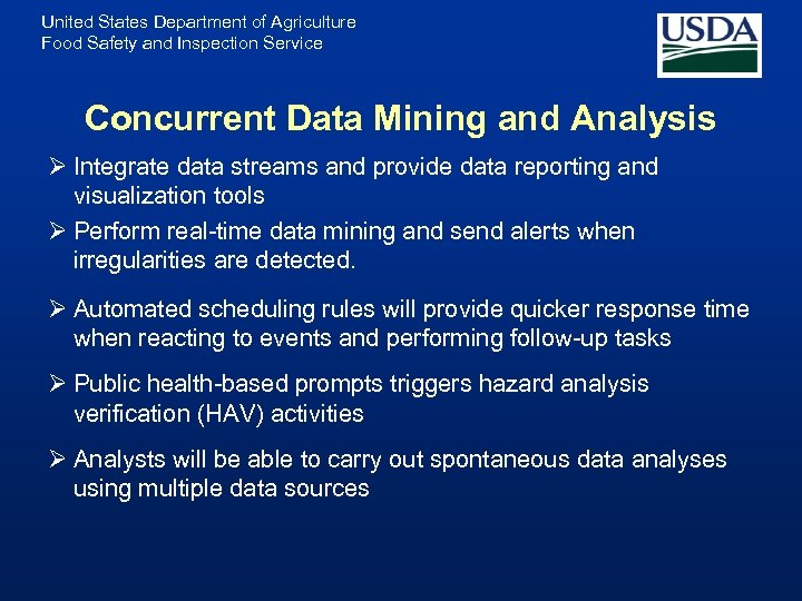 United States Department of Agriculture Food Safety and Inspection Service Concurrent Data Mining and