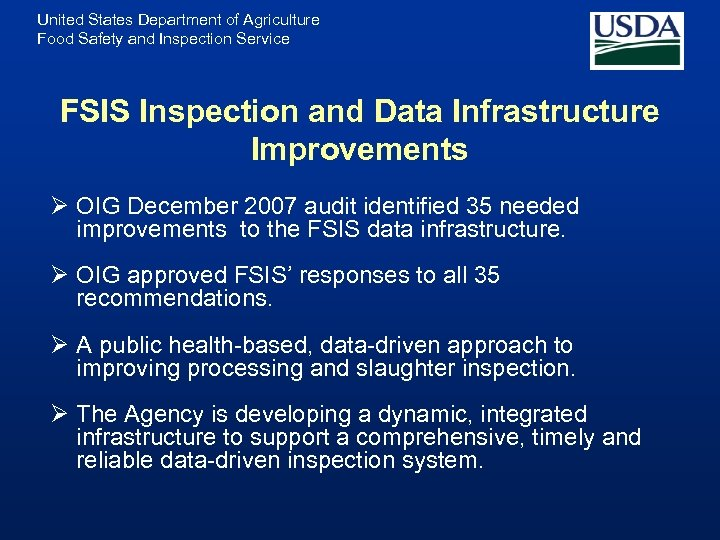 United States Department of Agriculture Food Safety and Inspection Service FSIS Inspection and Data