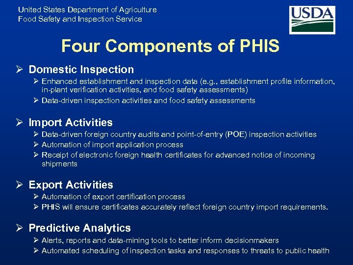 United States Department of Agriculture Food Safety and Inspection Service Four Components of PHIS