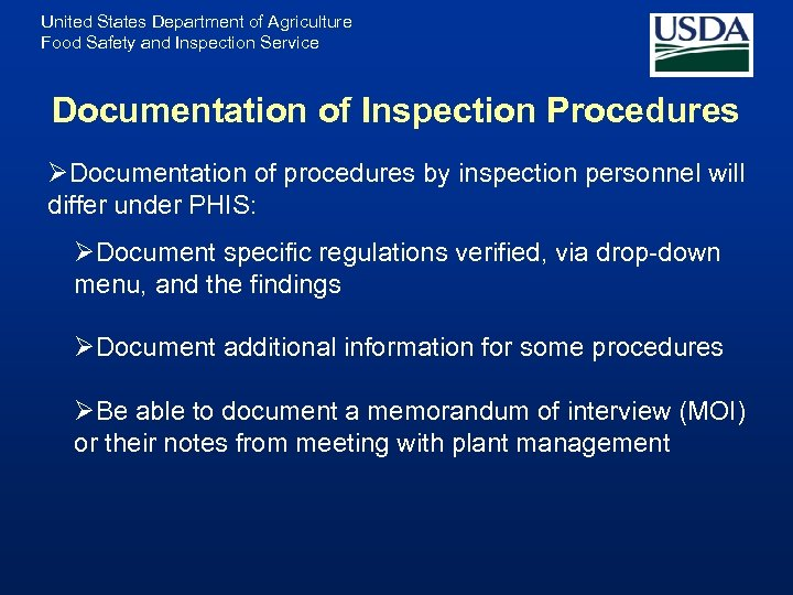 United States Department of Agriculture Food Safety and Inspection Service Documentation of Inspection Procedures