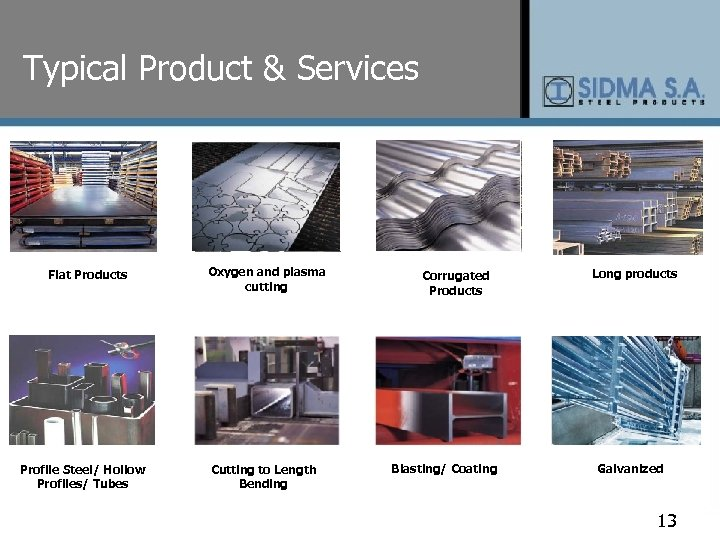Typical Product & Services Flat Products Profile Steel/ Hollow Profiles/ Tubes Oxygen and plasma