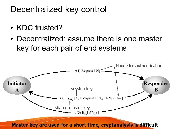 Decentralized key control • KDC trusted? • Decentralized: assume there is one master key
