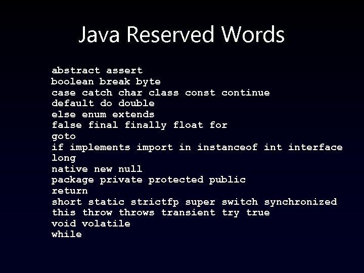 Java Reserved Words abstract assert boolean break byte case catch char class const continue