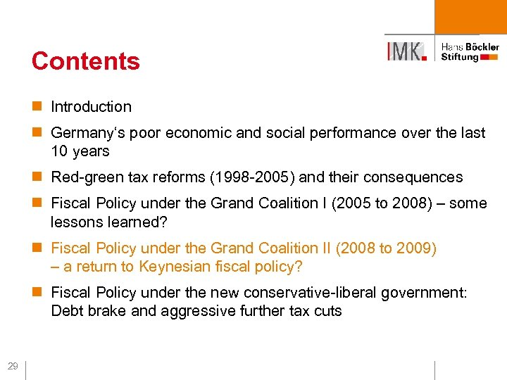 Contents n Introduction n Germany's poor economic and social performance over the last 10