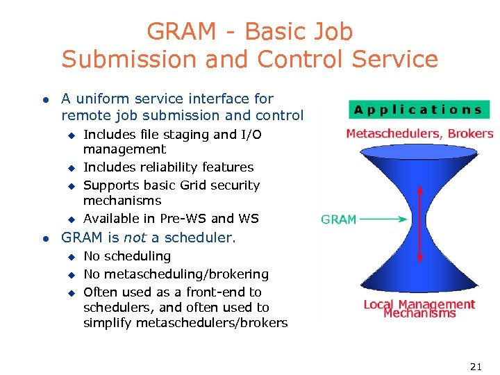 GRAM - Basic Job Submission and Control Service l A uniform service interface for
