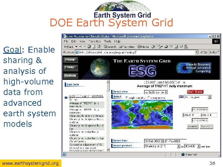 DOE Earth System Grid Goal: Enable sharing & analysis of high-volume data from advanced
