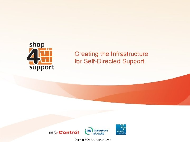 Creating the Infrastructure for Self-Directed Support Copyright © shop 4 support. com
