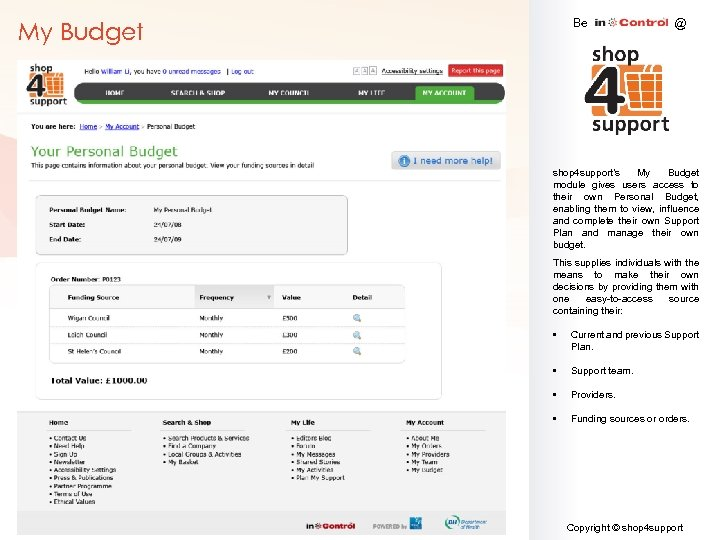 Be My Budget @ shop 4 support's My Budget module gives users access to
