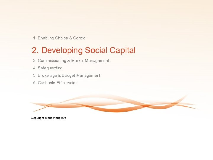 1. Enabling Choice & Control 2. Developing Social Capital 3. Commissioning & Market Management