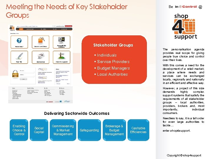 Meeting the Needs of Key Stakeholder Groups Be @ Stakeholder Groups The personalisation agenda