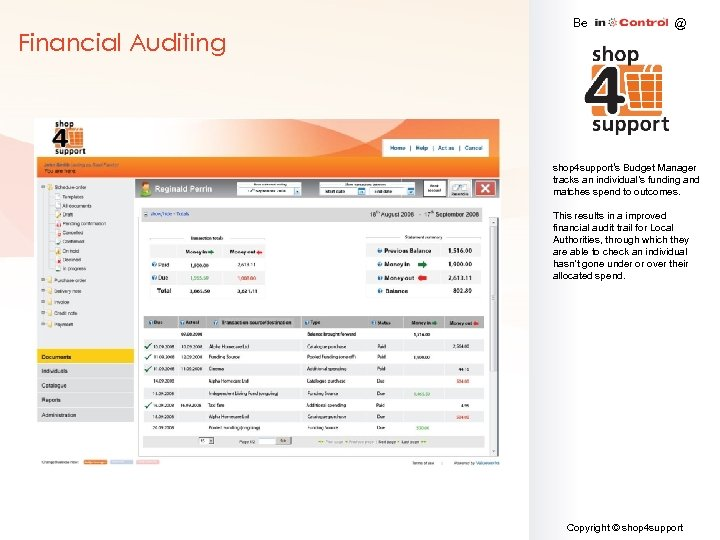 Financial Auditing Be @ shop 4 support's Budget Manager tracks an individual's funding and