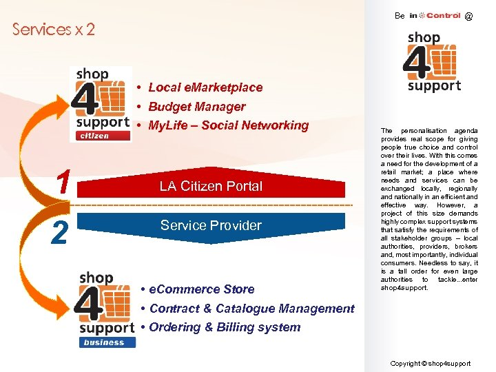 Be Services x 2 • Local e. Marketplace • Budget Manager • My. Life