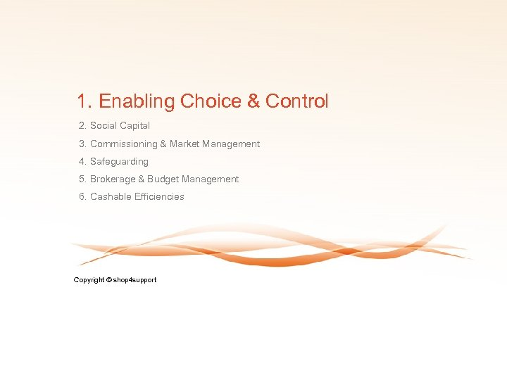 1. Enabling Choice & Control 2. Social Capital 3. Commissioning & Market Management 4.