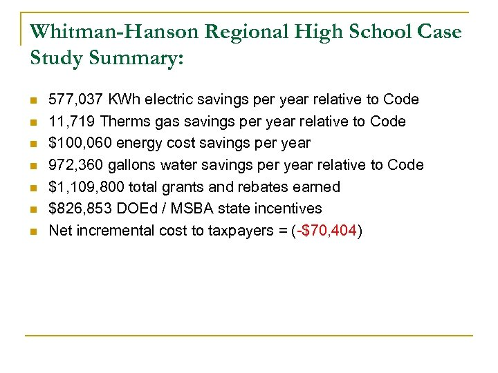 Whitman-Hanson Regional High School Case Study Summary: n n n n 577, 037 KWh