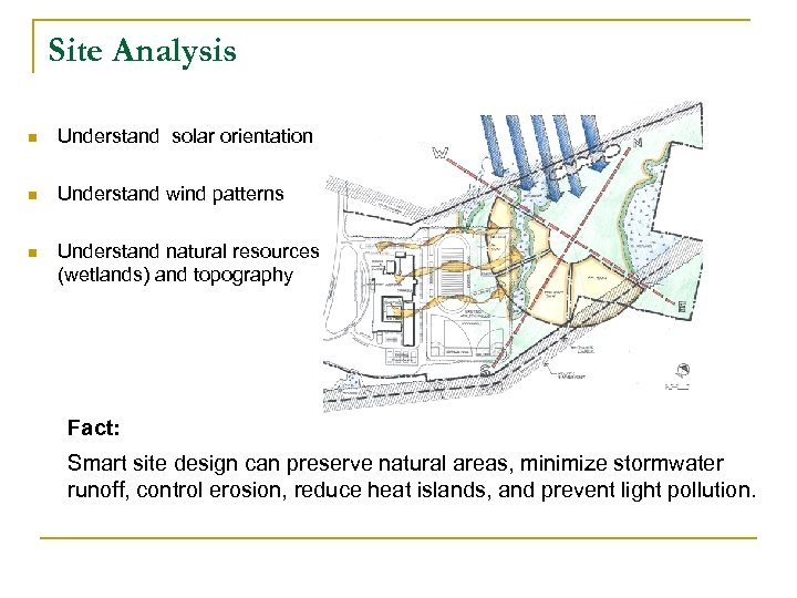Site Analysis n Understand solar orientation n Understand wind patterns n Understand natural resources