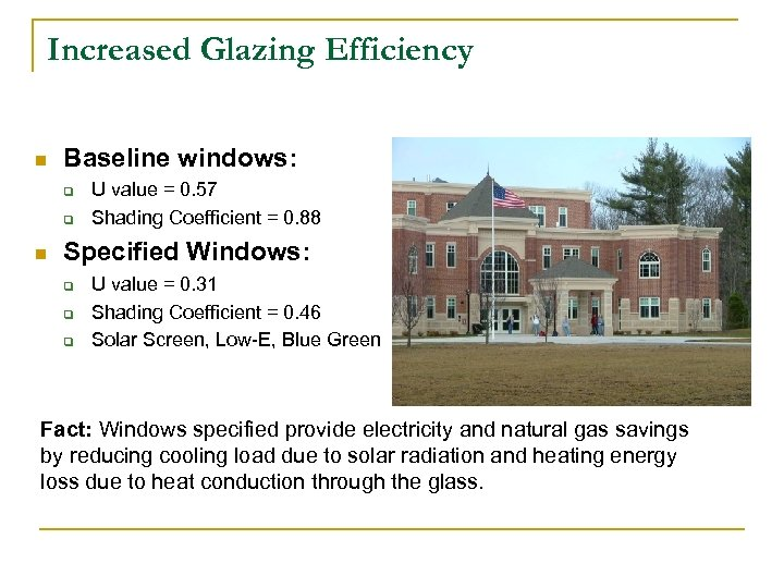 Increased Glazing Efficiency n Baseline windows: q q n U value = 0. 57