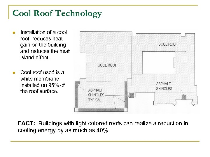 Cool Roof Technology n Installation of a cool roof reduces heat gain on the