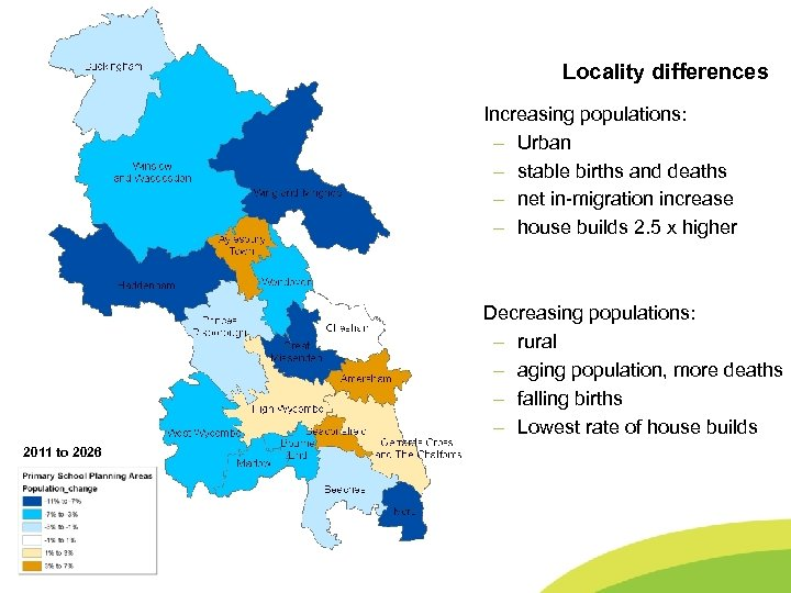 Buckinghamshire County Council Locality differences Population Changes • • 2011 to 2026 -12% to