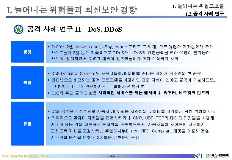 I. 늘어나는 위협들과 최신보안 경향 1. 늘어나는 위협요소들 1. 2. 공격 사례 연구 II