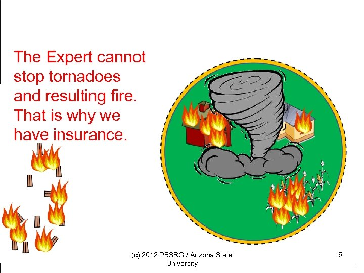 The Expert cannot stop tornadoes and resulting fire. That is why we have insurance.